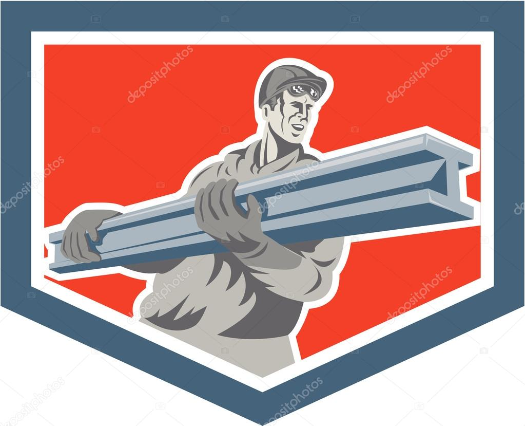 Construction Steel Worker Carrying I-Beam Shield Retro