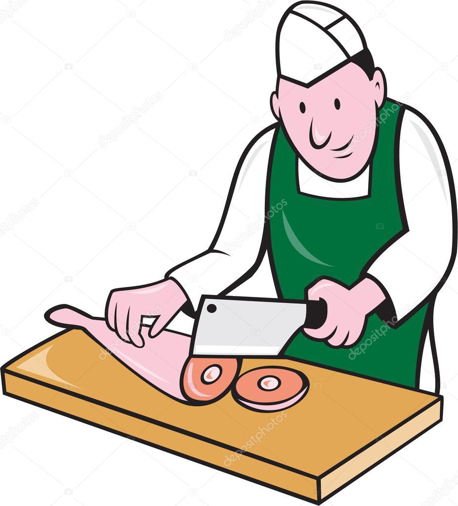 Dessin Boucher caricature viande hachoir de boucher — image vectorielle patrimonio