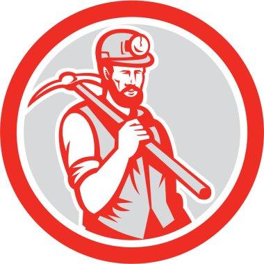 Coal Miner Hardhat Holding Pick Axe Circle Woodcut