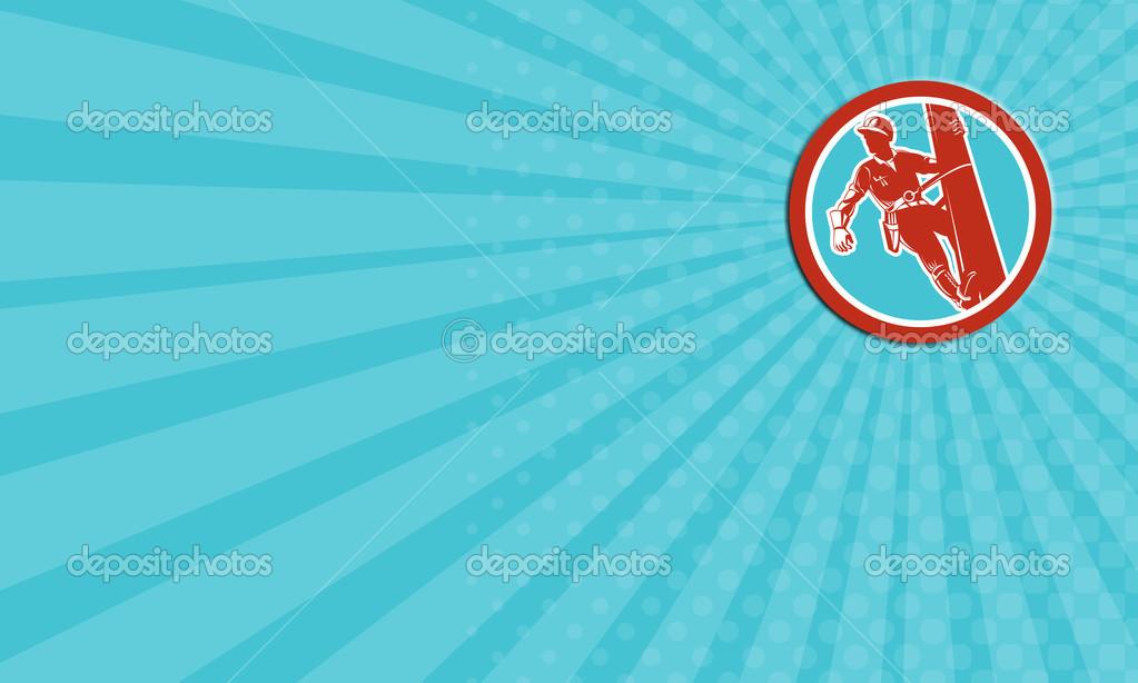 Carte De Visite Montrant Lillustration Dun Travailleur Reparateur Puissance Monteur Lignes Telephoniques Avec Harnais Escalade Post Fait Dans Un