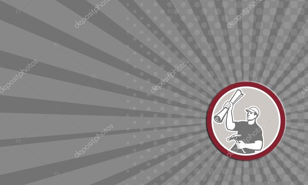 Carte De Visite Marteau Charpentier Constructeur Construction Plan Retro Images Stock Libres Droits
