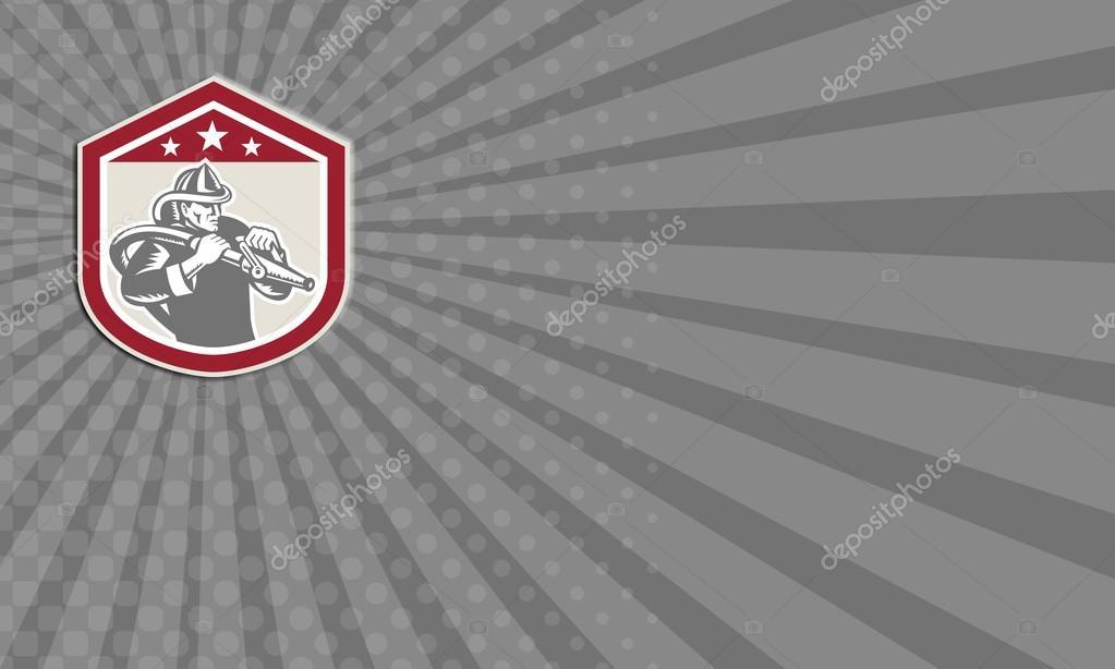 Carte De Visite Montrant Illustration Dun Pompier Ouvrier Durgence Avec Tuyau Dincendie Place Lintrieur La Forme Crte Bouclier
