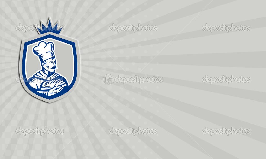 Carte De Visite Boulanger Tenant Crete Gravure Sur Bois Pain Images Stock Libres Droits