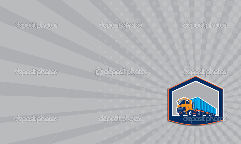 Business card container truck and trailer shield retro stock photo business card container truck and trailer shield retro stock photo colourmoves