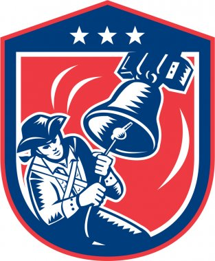 American Patriot Ringing Liberty Bell Woodcut Retro