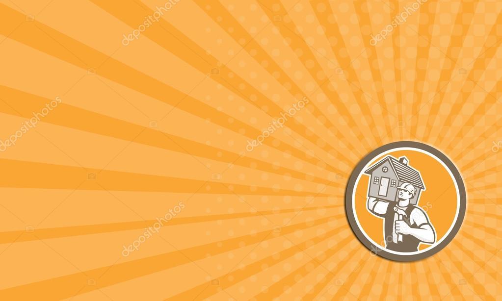 Carte De Visite Montrant Lillustration Dun Generateur Charpentier Holding Marteau Et Transportant Maison Epaule Situe A Linterieur Du Cercle Sur Fond