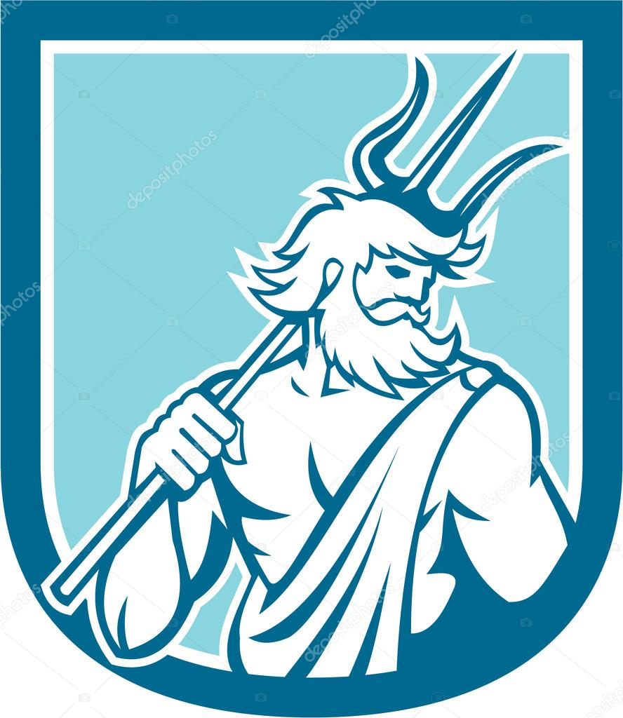 Neptune Poseidon Trident Shield Retro Stock Vector