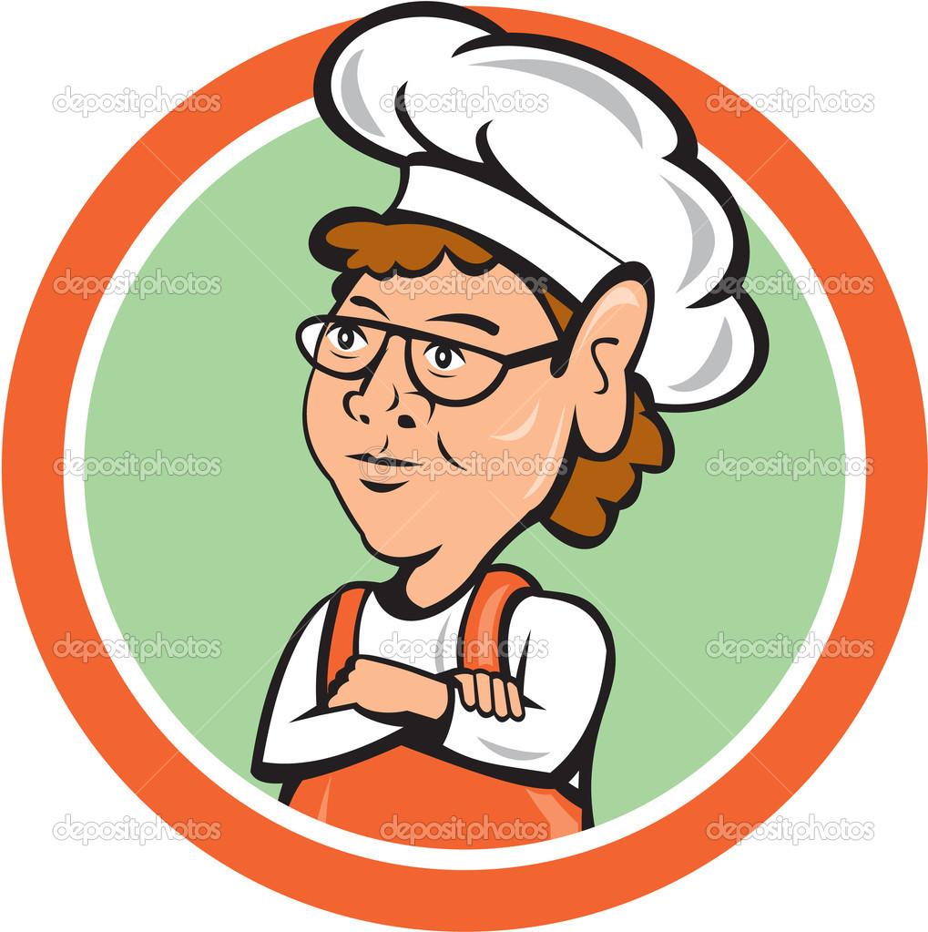 Chef Cuisinier Caricature Cercle Plié Armes Femelle Image