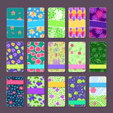 Set of Colorful Floral Bussiness Cards