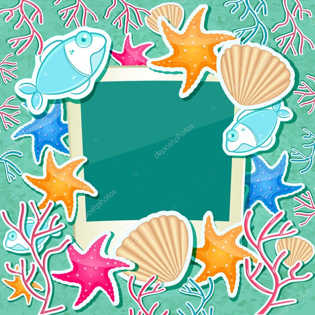Fotorahmen mit Fisch Seestern Korallen und Muscheln — Stockvektor ...