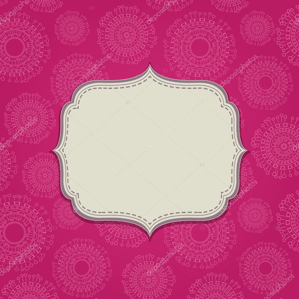 pink invitation card with blank label — stock vector © nikifiva
