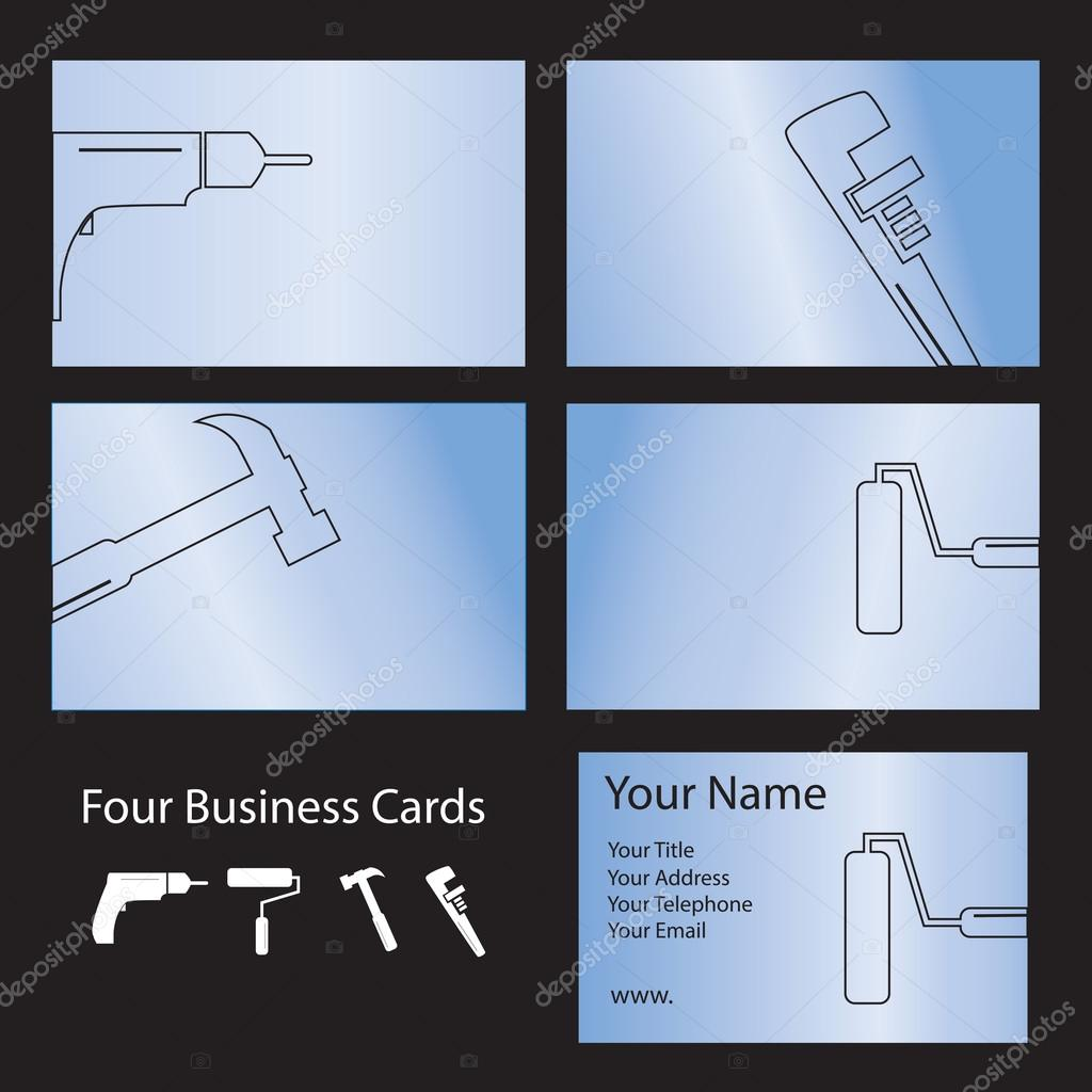 Four tool business cards — Stock Vector © janefromyork #22466819