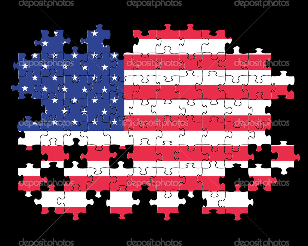 Usa flag jigsaw puzzle stock photo janefromyork 31495403 jigsaw puzzle of the usa flag with missing pieces on black background photo by janefromyork gumiabroncs Image collections
