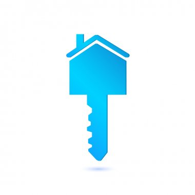 Illustration of a house key isolated on a white background. stock vector