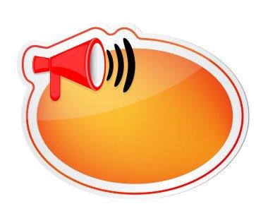 Speech bubble with loud speaker icon