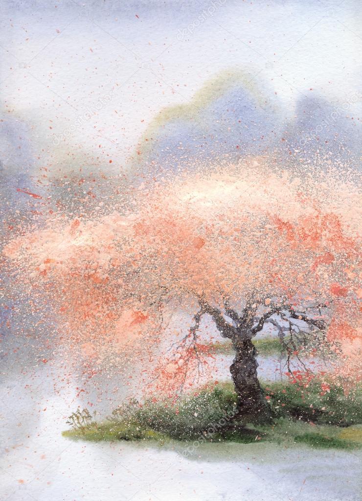Watercolor landscape. Flowering tree near the rive