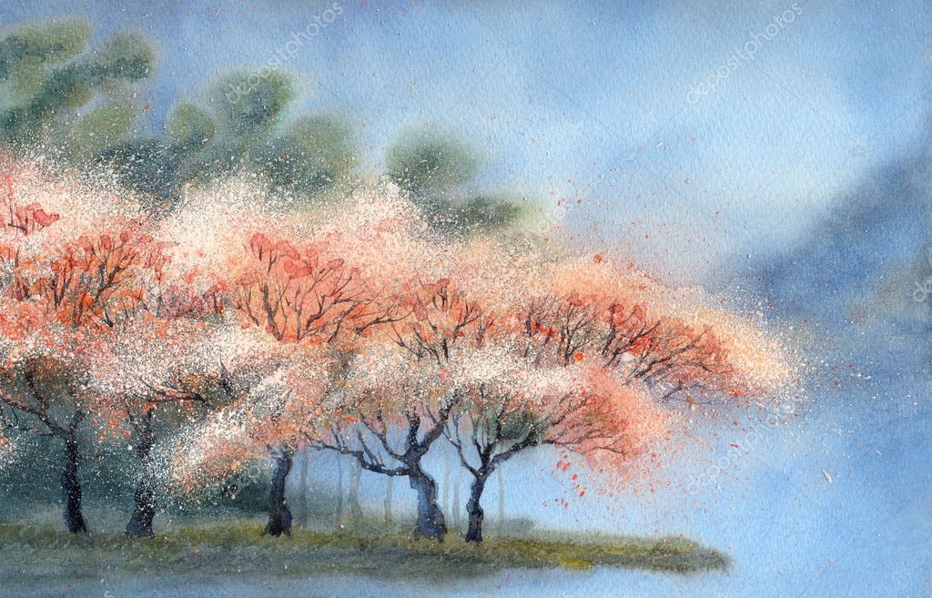 Watercolor landscape. Flowering trees near the river