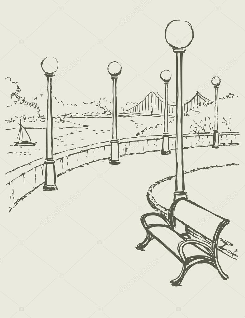 Vector landscape with river. Bench and lights along the road of
