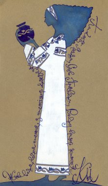 Stylized drawing. Beautiful girl with a jug ornament frames from