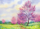Akvarel jarní krajina. Kvetoucí strom v poli