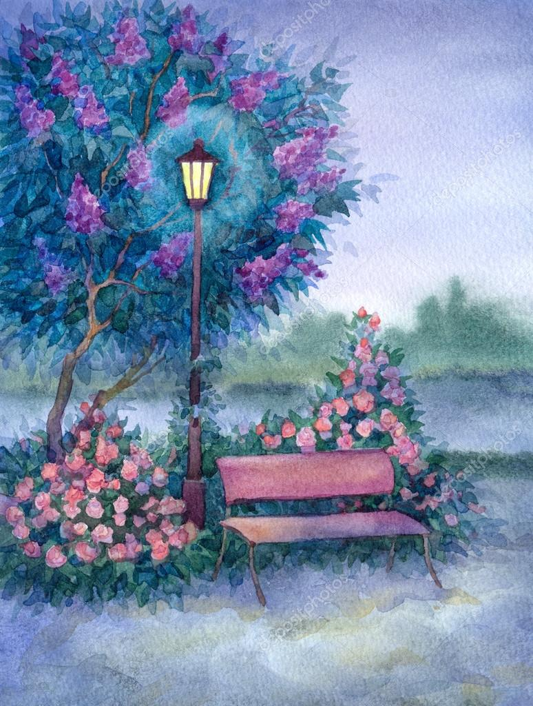 Watercolor landscape. Glowing lantern near the bench in spring p
