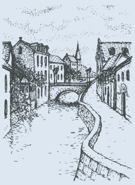 Vector cityscape of the narrow street with bridge over the canal