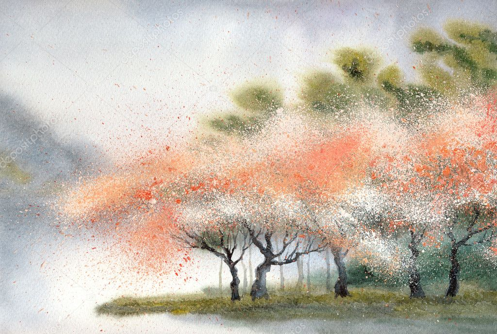 Watercolor landscape. Flowering trees near rive