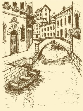 Vector drawing. Canal narrow Venetian street with bridge and gon