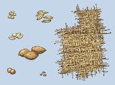 Fotografie Reihe von Vektorgrafiken von archäologischen Funden. bleibt