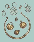 Fotografie Reihe von Vektorgrafiken von archäologischen Funden. Antike