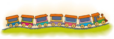 Vector stylized toy train with six carriages