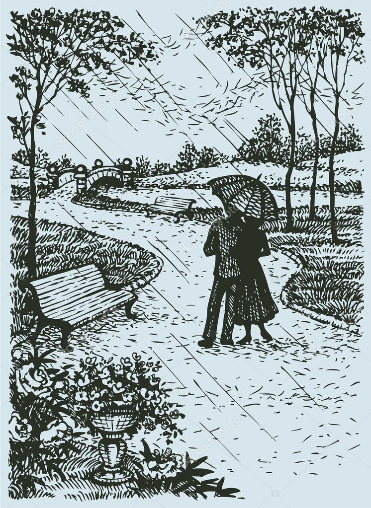 Vector landscape. Young couple with umbrella walking through par