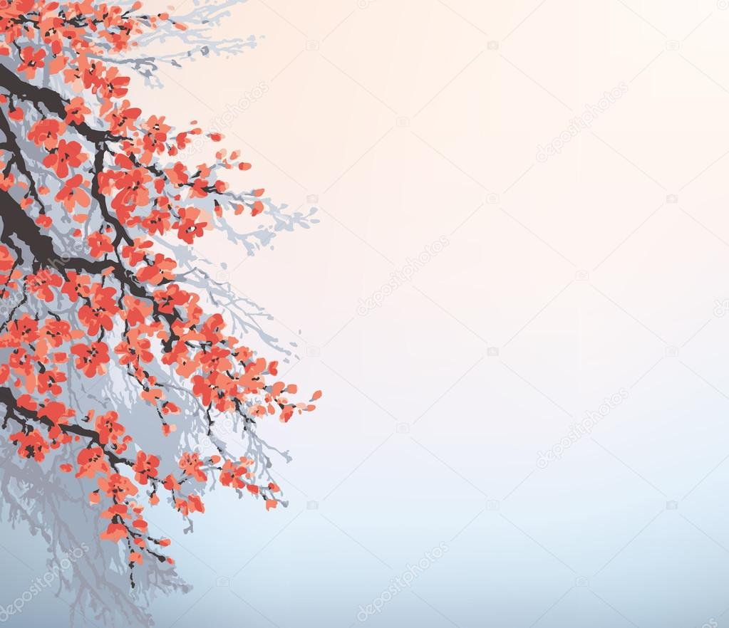 Vector Background In Japanese Style Blossoming Cherry Branches