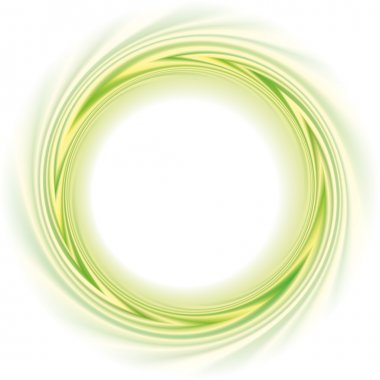 Abstract vector frame. Green and yellow stripes swirling circle