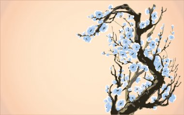 Vector background. Blossoming branches of an old tree