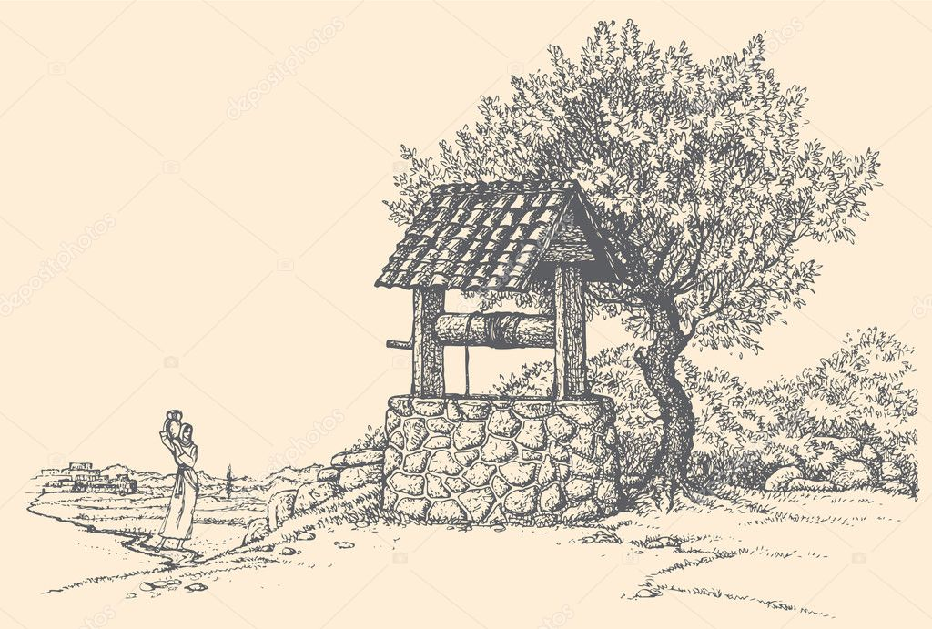 Vector landscape. Young girl with waterpot goes to a well