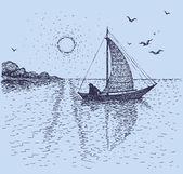 Fotografia paesaggio marino di vettore. un pescatore in barca fuori al mare allalba