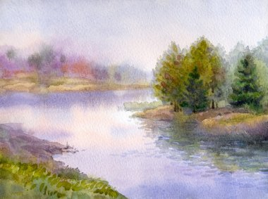 Watercolor landscape. Gorgeous evening on the forest lake