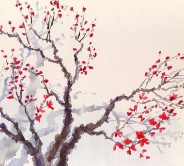 Watercolor background. Red flowers on the branches of the old tree