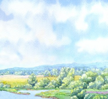 Watercolor background. Sunny summer day in green valley