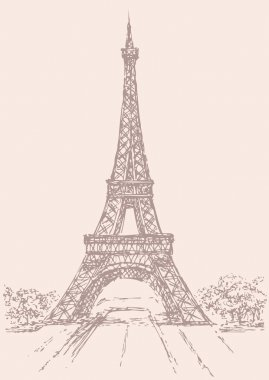 Vector drawing from a series of landmarks. Eiffel Tower in Paris. France