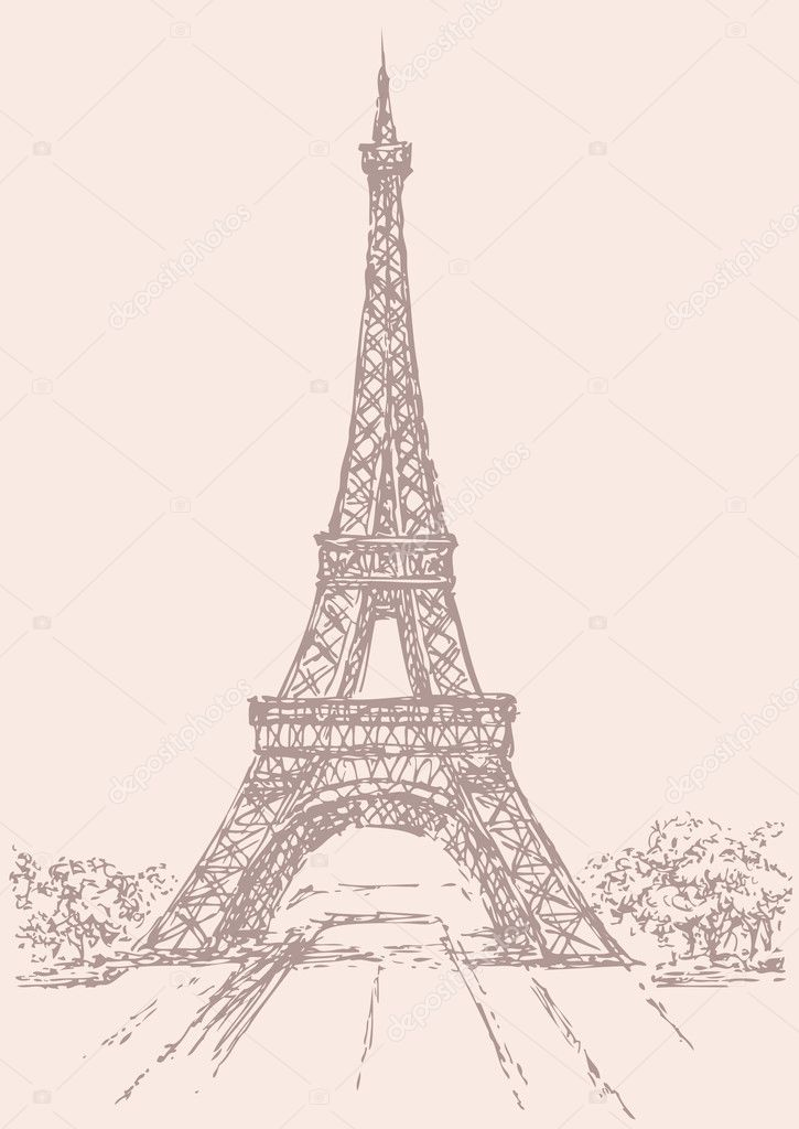 vector drawing from a series of landmarks eiffel tower in paris france stock