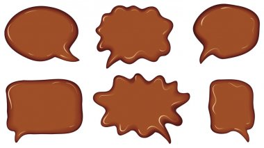 Vector collection of speech bubbles, consisting of chocolate