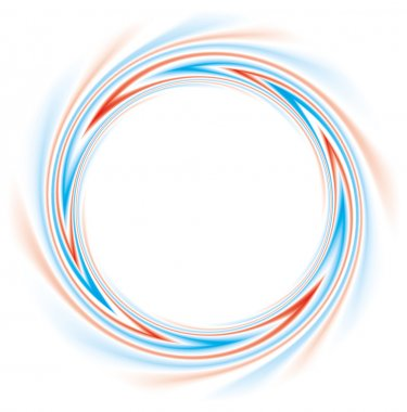 Vector background. Abstract round frame of red and blue stripes
