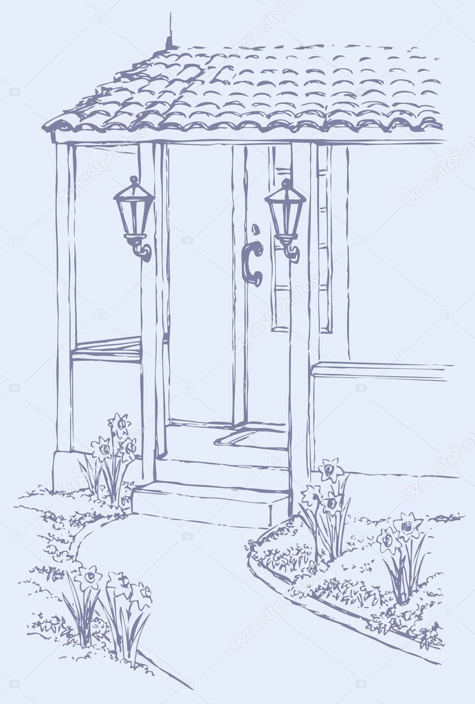 Vector illustration. The path to the porch of cozy home