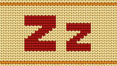 Vector Red knitted alphabet. Letter Z