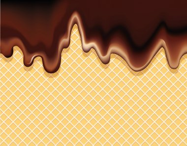 Vector background of dark chocolate flowing on wafer