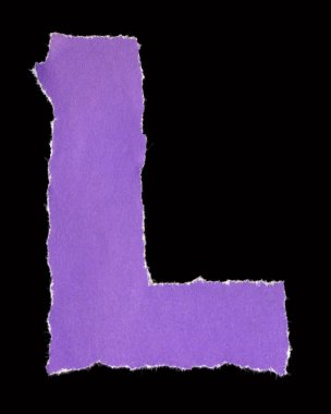 Letters from torn scraps of colored paper. Letter L