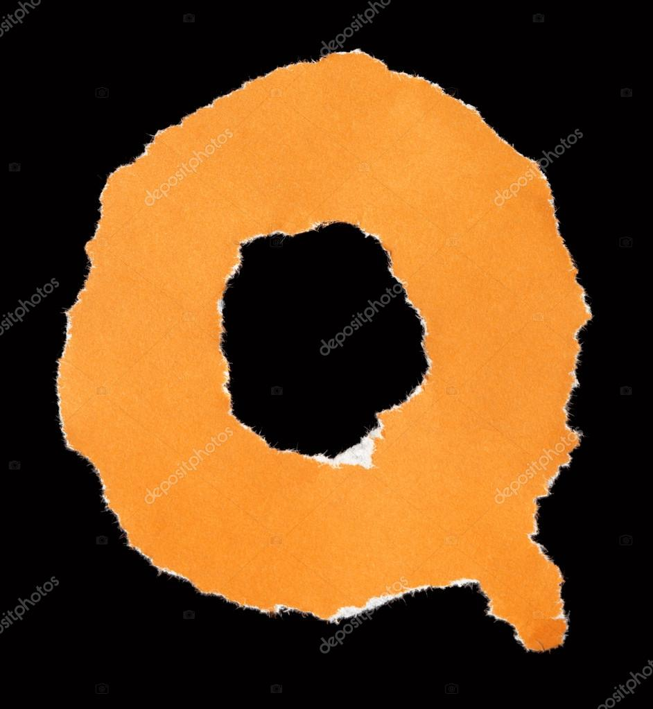 letters from torn scraps of colored paper letter q stock photo