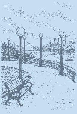 Vector landscape. Bench and lanterns above the river